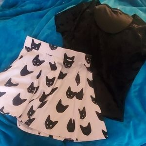 Kitty Outfit Crushed Velvet Top Cat Skirt Sexy